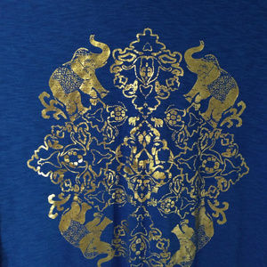 crown & ivy Tops - Crown & Ivy Colbalt Blue 3/4 Sleeve Elephant Top
